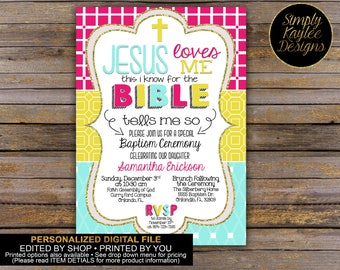Jesus Loves Me Girls  Baptism Invitation