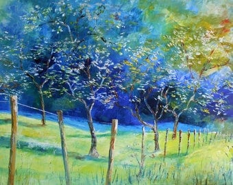 Big painting 75 x 115 cms Cherry-plum trees of Lorraine in flowers