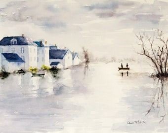 Original  landscape watercolour painting : along the river Loire in France - Loire valley painting - houses along the river