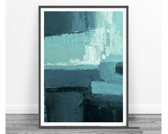 Printable Art,  Art Poster, Digital Download, Wall Decor,turquoise and blue, modern abstract, scandinavian design, navy blue, blue, white,