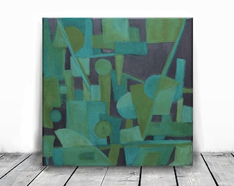 SALE 20%, Wall Decor , 12x 12, ORIGINAL Painting, Art Painting, green blue and black, original acrylic painting