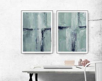 Pastel Green Poster, Mint Green Print, Abstract Teal Printable, Mint Green Watercolour Wall Art, Digital Set of 2, Minimalist Art Home Decor