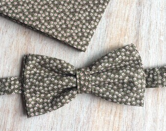 Bow tie + Pocket - floral khaki