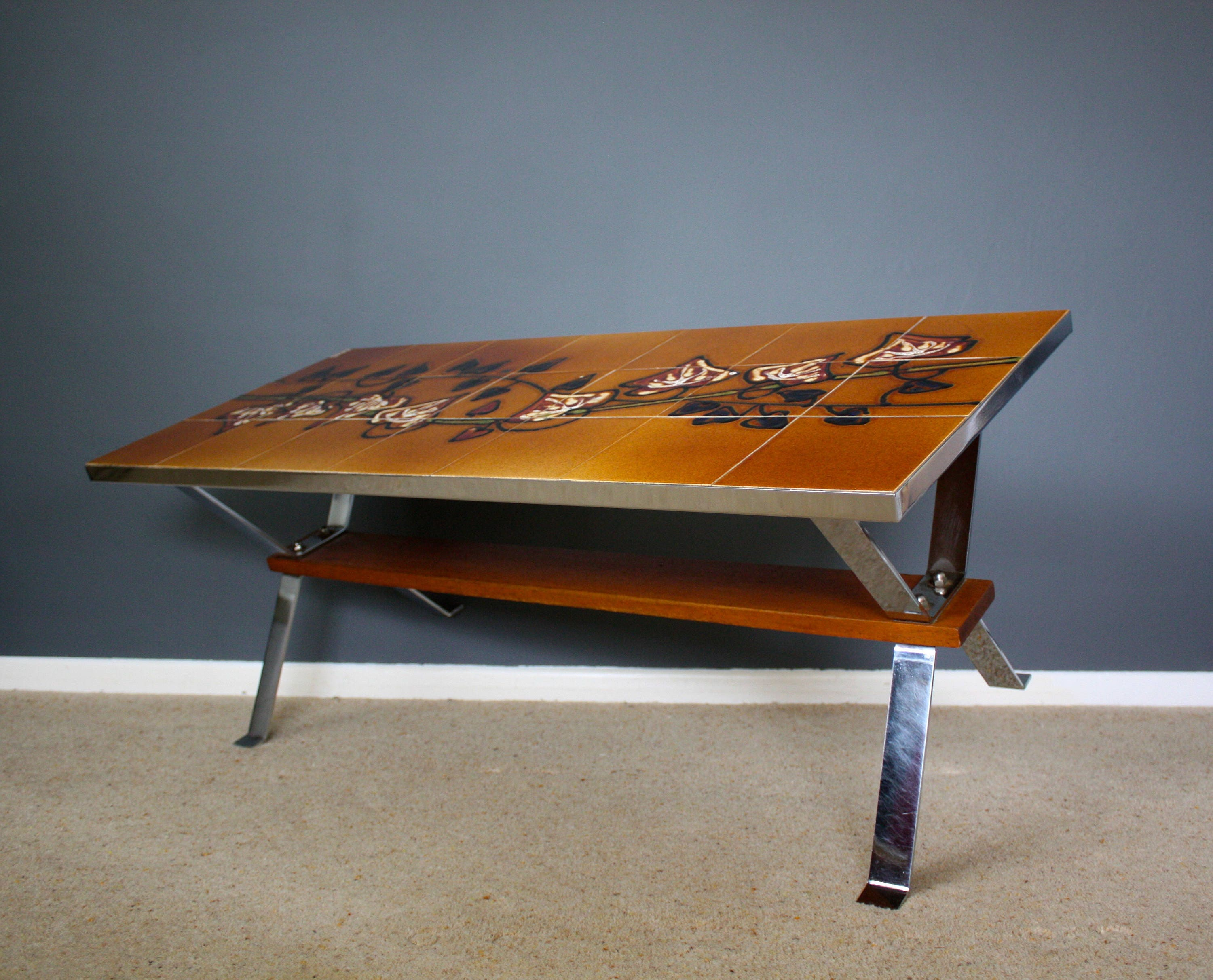 Mid Century Belgian Art Coffee Table Signed Adri Vintage Retro
