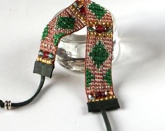 Emerald Green Statement Bracelet, Bead Loom Bracelet, Ethnic Jewelry, Boho Style Jewelry, Sundance Style, Beadwork Bracelet, Gift for Her