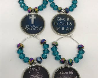 Set of 4 inspirational faith inspired wine glass charms