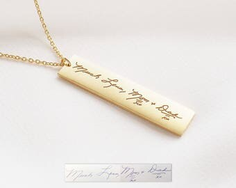 Mother's necklace / Personalized Handwriting Bar Necklace / Engraved Signature Bar Necklace / Actual Handwriting Bar Necklace - HN11