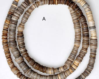African Clam Shell Heishi Beads  - 5-7mm Diameter - Vintage African Trade Beads