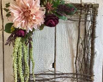 Square Wreath, Square Grapevine Wreath, Pink and Purple Wreath, Valentine Wreath, Front Door Wreath, Valentine's Day Wreath, Wall Decor
