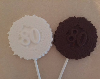 "NUMBER ""80"" CHOCOLATE Lollipop(12qty) 80th Birthday/80th Celebration/Number 80 Party Favor/80th Anniversary/Party Favors/Company Anniversary"
