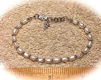Fresh Water Pearl and antique silver bracelet