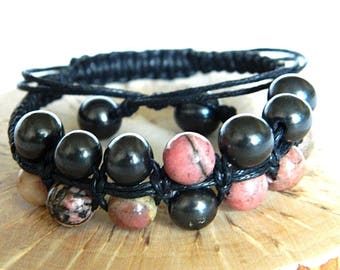 Shungite & Rhodonite macrame beaded bracelet