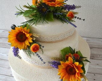 Sunflower. 3 tier wedding  cake toppers.country styled.wheat grasses .lavender