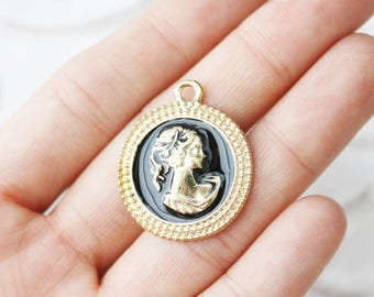 Set of 10, lady charms, wholesale charms, gold charms, metal charms, coin charms, women charms, vintage women charms,