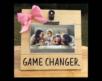 Game Changer - Funny Pregnancy Announcement clip frame. We're expecting twins/triplets/baby surprise gift pregnant ultrasound