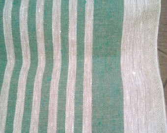 100% Natural Grey and Green Linen Fabric Stripped Taupe Grey