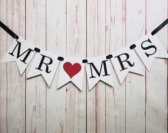 MR & MRS Banner, Mr and Mrs Sign, Bridal Shower Decor, Engagement Banner, Engagement Photo Prop, Wedding Backdrop, Sweetheart Table Banner