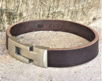 FREE SHIPPING-Hidden Message Bracelet, Custom Leather Cuff, Leather Men Bracelet, Personalized Wristband For Men, Engraved Leather Bangle