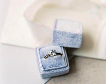 Ring Box - Velvet Ring Box - Vintage Style - Proposal Ring Box - Engagement ring box - Wedding - Personalized Gift - Powder Blue
