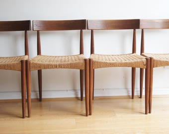 Set of 4 Mid century Danish Arne Hovmand by Mogens Kohl teak and Papercord dining chairs