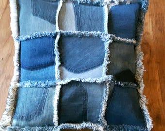 Patchwork Denim Cushion Cover, Handmade Jenniwren Originals Pillow Cover, Backs of Jeans Pockets, Shabby Chic Christmas gift