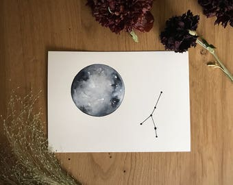 Moon and Constellation of Cancer. Original Painting.