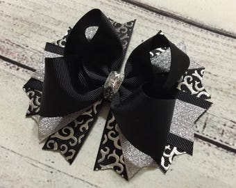 Silver  and Black Stacked Hair Bow,New Year Hair Bow,Girls Stacked Hair Bow, Back to School Boutique Hair Bow ,Stacked Hair Bow
