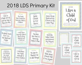 2018 LDS Primary Theme Kit, Digital Download, I Am A Child Of God, Primary Binder Covers, Primary Printables, Monthly Theme Printable