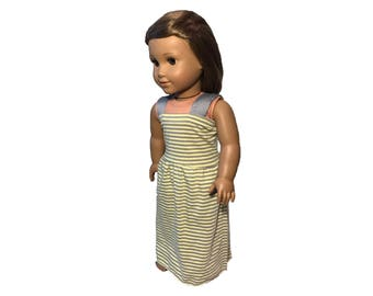 18 Inch Doll Clothes | yellow and grey striped maxi dress