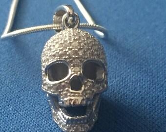 Skull/Memento Mori C.Z. encrusted sterling silver Pendant and snake chain