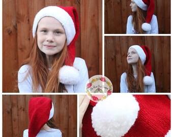 Santa Christmas Hat: Hat, Santa Hat, Father Christmas Hat, Pom Pom Hat, Christmas Hat, Red Hat, Adult Hat, Children's Hat, Photo Prop Hat