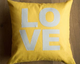 16x16 throw pillow cover - yellow and gray fabric LOVE pillow