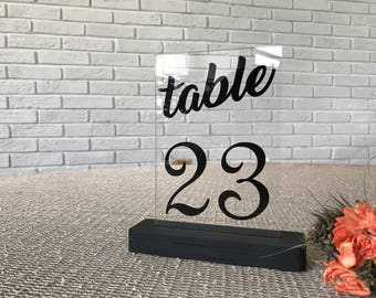 Clear Acrylict stable table numbers. Wedding Table numbers.  wedding. Wedding table decoration numbers. Wedding signs.