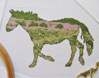 Horse cross stitch pattern PDF, New Forest pony cross stitch chart, horse riding, modern animal silhouette, heather, trees, countryside