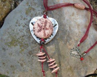 CREATION ceramic necklace - ethnic - unique - FRANCE