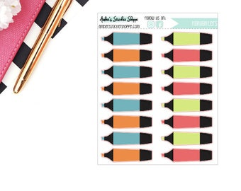 School Multicolored Highlighters Planner Stickers