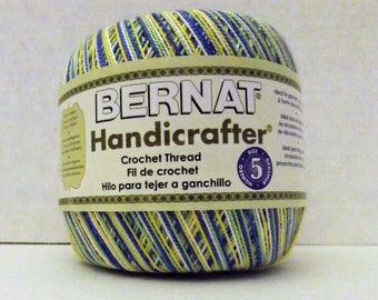 Bernat Handicrafter Crochet Thread ~ Size 5 ~ Surprise (Variegated) ~ 2.8 oz ~ 350 Yards