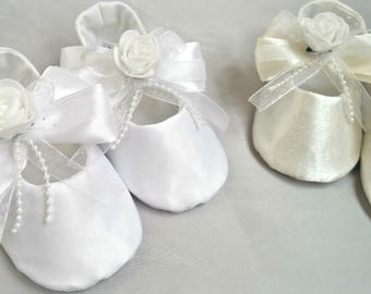 Bridesmaids Rose Flower Girl Wedding Shoes White /Ivory baby slippers Satin christening shoe Infant flats Blessing Baptism shoe Baby outfit