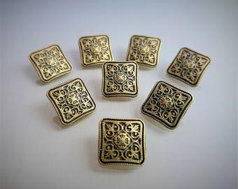 8 square buttons 1,3cm engraved metal color bronze