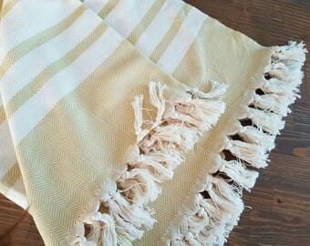 Mustard Herringbone Blanket - 100% Cotton Woven Blanket - Dijon Yellow Blanket - Summer Coverlet - Blanket with fringes - Cotton Bedspread