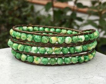 Green Bead Leather Wrap Bracelet - Bead Bracelet - Bead Wrap - Chan Luu Style - Leather Bracelet - Jade - Small Wrist - St. Patrick's Day