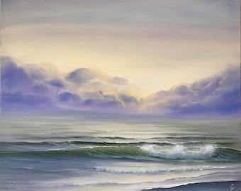 Large Seascape Painting, Ocean Art, Coastal Landscape, Coastal Bedroom Ideas, Wall Art, Original Oil Painting on Canvas, Wide Awake