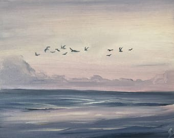 Seagulls Painting, Coastal Landscape, Ocean Sunrise Painting, Seascape, Beach Art, Ocean Scene, Small Purple Oil Painting, Sunrise Flight