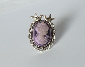 purple lady cameo victorian ring bague victorienne rockabilly camée marquise violet