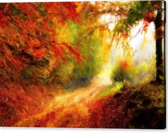Glorious Autumn Forest Pathway Canvas Print  - Size 30x20 Inches
