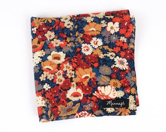 "Pocket square in Liberty ""Thorpe burnt"" orange, handkerchief, costume accessory, wedding accessory"