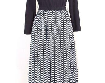 1960's Silver Maxi Dress Lg Black Turtleneck Op Art Chevrons