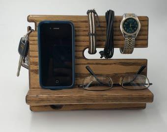 Oak NightStand Valet / Docking Station Wooden Men / Phone Stand / Wood Docking Station / Organizer