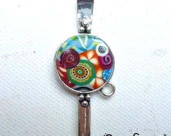 "Original silver bookmark with ""multicolore2"" polymer clay cabochon"