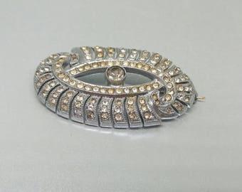 Deco Rhinestone Brooch 1930s Oval Pin Silver Tone Pot Metal Diamante  Vintage Jewellery